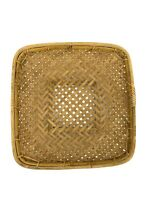 "Vintage 15"" Square Rattan Winnowing Boho Grain Gathering Centerpiece Wall Basket"