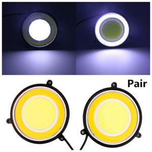2xCar 90mm Round Dual Circle LED Daylight Waterproof White DRL Turn Signal Light
