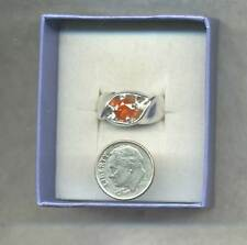 JANUARY DELIVERY !  6.3mm Rd Natural SPESSARTITE GARNET SS RING-  size 8.75