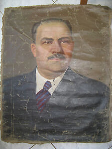 CCCP HUILE sur toile Soviétique ANCIENNE de Lazare Kakanovitch URSS USSR 195x