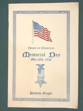 GAR Memorial Day Services Portland Oregon orig 1933 Program