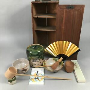 Japanese Tea Ceremony Set Chabako Wooden Box Vtg Chawan Mizusashi  PX522