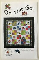 """On the Go Quilt Pattern Cars Trucks Airplanes Throw Wall Hanging 1990 54"""" Square"""