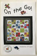 "On the Go Quilt Pattern Cars Trucks Airplanes Throw Wall Hanging 1990 54"" Square"