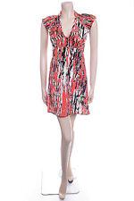 New Ladies Carbon Size 14 Orange Print Floaty Summer Dress Bold
