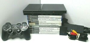 Slim PS2 Sony Playstation + 1 Console + 8 Games Bundle - Tested GWO SCPH-75003