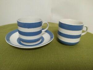 Vintage T G Green Cornishware Blue & White Stripes Cups