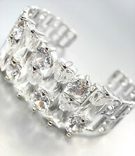 STUNNING 18kt White Gold Plated Mosaic Cluster CZ Crystals Cuff Bracelet