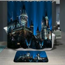 Harry Potter Castle Fabric Shower Curtain and Hooks - Brand New