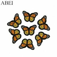 10PCS DIY Embroidered Orange/Yellow Butterfly Patch Iron On Sew On Clothes Craft