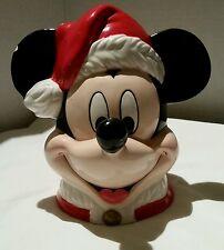 Disney Mickey Mouse Music Box Christmas Santa Hat Jingle Bell  Enesco used.