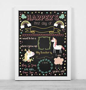 Personalised framed blackboard print wipe clean first day school pretty unicorn