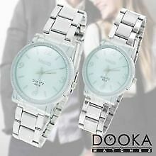 Meizb Couple Stainless Steel Strap Watch Bundle B204 (White)