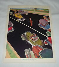 1934 cartoon page ~ THE CUCKOO AND THE JAY ~ Man Forces Cars To Swerve