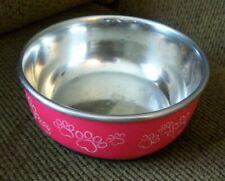 """Pawprints"" Cat Dog Pet Food Water Bowl Dish Steel RED Slip Resistant Bottom"