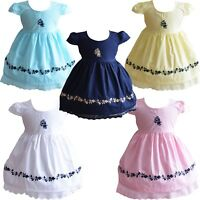 Baby Girls Cotton Dress Pink White Yellow Blue 6 9 12 18 24 Months