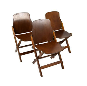 Vintage 1940s Set of Three US Army Issued WWII Folding Chairs