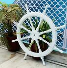36 Inch Wooden Brass Finished Ship Boat Steering Wheel Nautical Pirate Decor