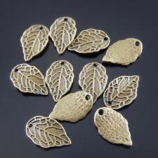 45pcs Antique Bronze Cute Leaves Shaped Alloy Pendants Charms Findings 52160