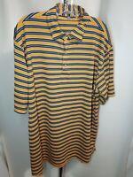 PETER MILLAR Summer Comfort Men's Golf Polo Shirt Blue Orange Striped Size XL