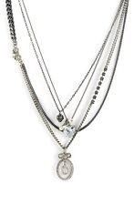 Juicy Couture Bow Icons Pearl & Crystal Heart Pendant Multi Chain Necklace