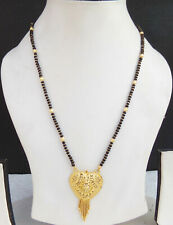 Ethnic South Indian Black Beads Chain Jewelry 22k Golden Bridal Long Mangalsutra