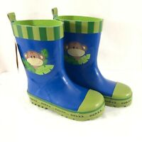 Stephen Joseph Toddler Boys Rain Boots Rubber Slip On Monkey Blue Green Size 9