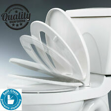 Deluxe White Soft Close Oval Shaped Hinged Toilet Seat Heavy Duty Anti-Slam Seat