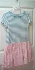 MINI BODEN 👗 11-12 Aqua Striped Coral Broiderie Girls Dress Scalloped Hem