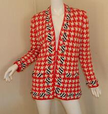Women Vintag LIHLI Red White Long Sleeve Casual Work Jacket Cardigan Sweater 12