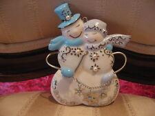 Porcelain Snowman w/Snowflake Charms & Pearls 2006 Grandparents Xmas Ornament