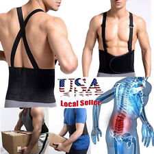 HEAVY DUTY LUMBAR LOWER BACK & WAIST SUPPORT BRACE BELT & SUSPENDERS M