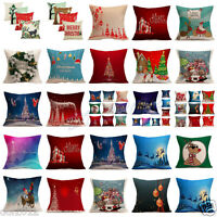Christmas Santa Deer Linen Throw Pillow Case Sofa Cushion Cover Xmas Home Decor