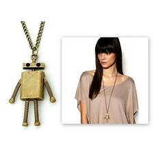 "CUTE ROBOT CHARM NECKLACE 2.5"" Pendant Antique Bronze Tone Metal 28"" Long Chain"