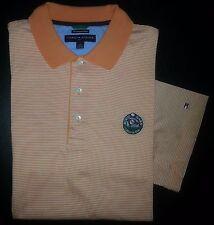 2822s L Peach White Stripe TOMMY HILFIGER GOLF Rock Barn Logo S/S Polo Shirt!