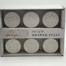Alex  Zoe 6 Drawer Knobs Pulls White Ceramic