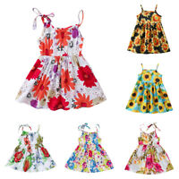 Floral Princess Dress Baby Kids Toddler Infant Girls Sling Cotton Summer Dresses