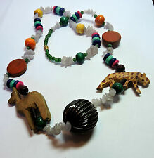 New Old Stock Carved Wood & Natural Bead Leopard Springbok  Necklace  #FASH8
