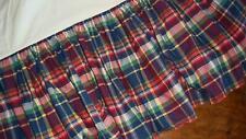 Ralph Lauren Garrison Plaid 100% Cotton Madras King Ruffled Bedskirt Made In USA