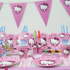 62pcs Hello Kitty Kids Birthday Party set for 20 people paper plate cup napkins