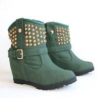 Damen Stiefeletten 40 Grün Versteckter Keilabsatz Wedges Boots Stiefel H197