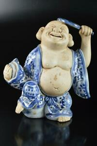 Q2091 : XF Japan Old Kiyomizu-ware Blue&White Hotei-shaped STATUE, Dohachi made