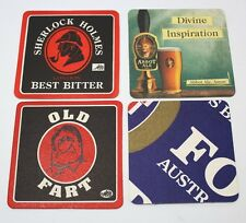 Coasters Lot Of 4 Assorted Beer Brewmania Old Fart, Sherlock Holmes Collectable