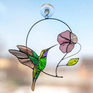 Multicolor Birds Stained Glass Hanging Suncatcher Window Panel Home Decor