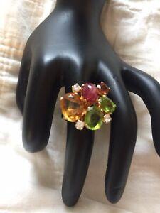 Custom made heavy18KT gold jeweled ring
