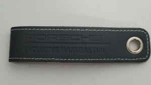 Porsche Exclusive Manufaktur KeyFob Keychain Black Leather White Stitches RARE