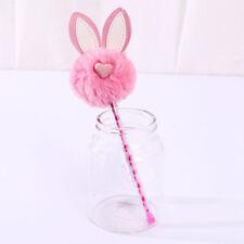 1pc Cute Rabbit Ear Warm Ball Plush Gel Pen Kawaii Stationery 0.5mm Ink Pens