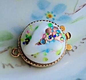 #603A Vintage Clasp Foil One Strand Bracelet Necklace 1 Strand Floral NOS Mosaic