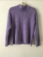 Knitwear By F&F Fluffy Knit Pastel Lilac Turlte Neck Jumper Size 8
