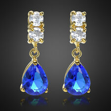 Sale! Lady Gift Pear Cut Blue Sapphire Yellow Gold Plated Gp Drop Stud Earring